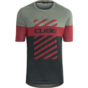 Cube Edge Round Neck Jersey shortsleeve Men bordeaux